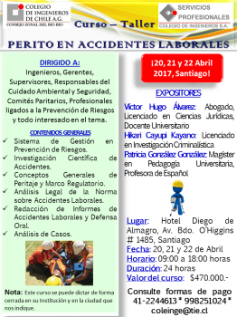 CURSO PERITO EN ACCIDENTES LABORALES